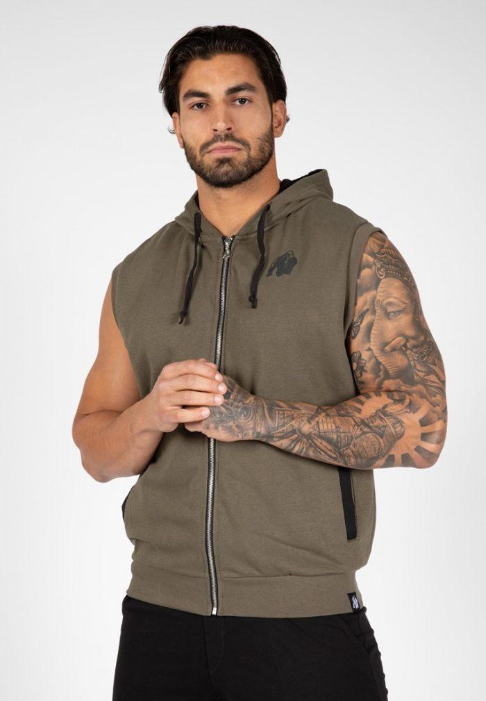gorilla-wear-springfield-sleeveless-zipped-hoodie-legergroen-l