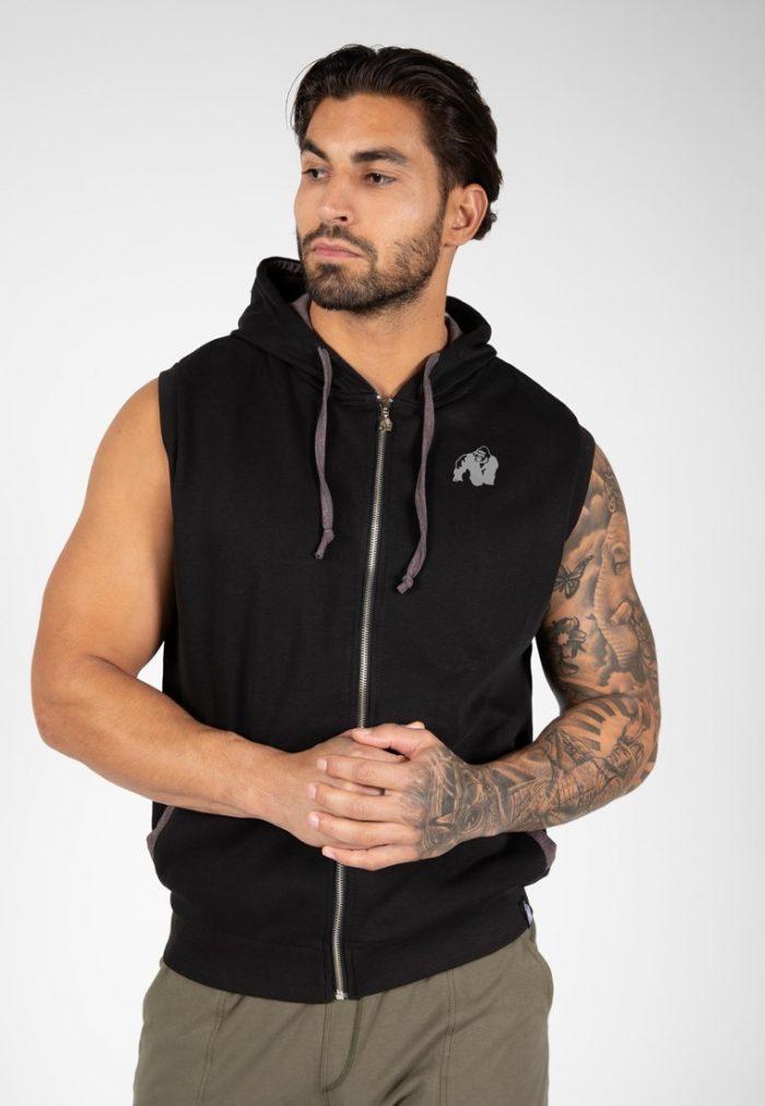 gorilla-wear-springfield-sleeveless-zipped-hoodie-zwart